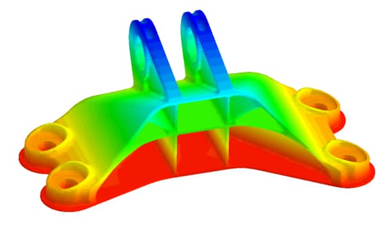 A simulation of the temperature within a 3D printer's chamber.
