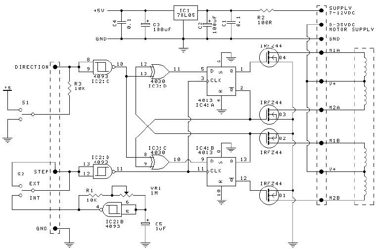 A schematic of a simple stepper motor driver.