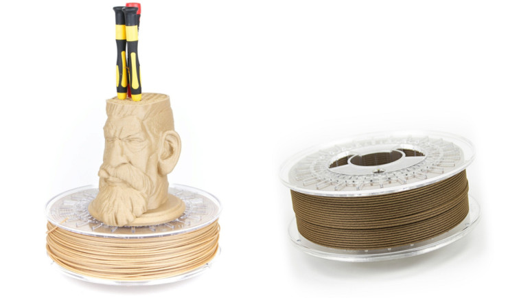 Colorfabb's woodFill & corkFill wood filaments made from 70% PLA and 30% bio wood fiber.