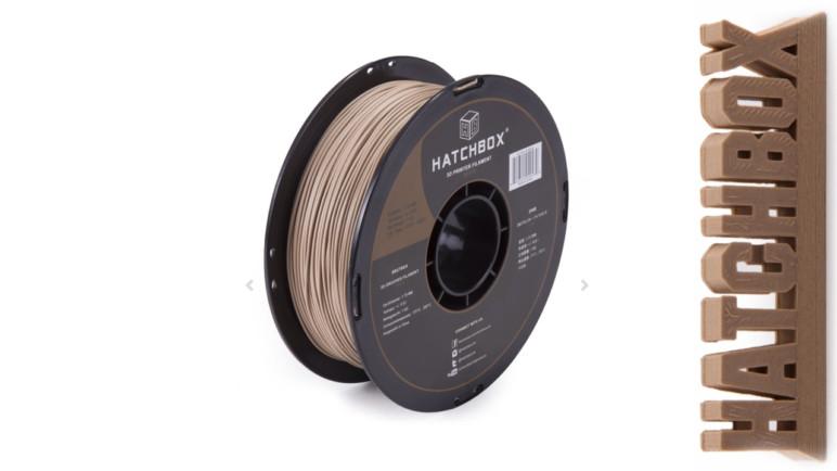 1 kg spool of Hatchbox PLA-based 1.75 mm wood filament.
