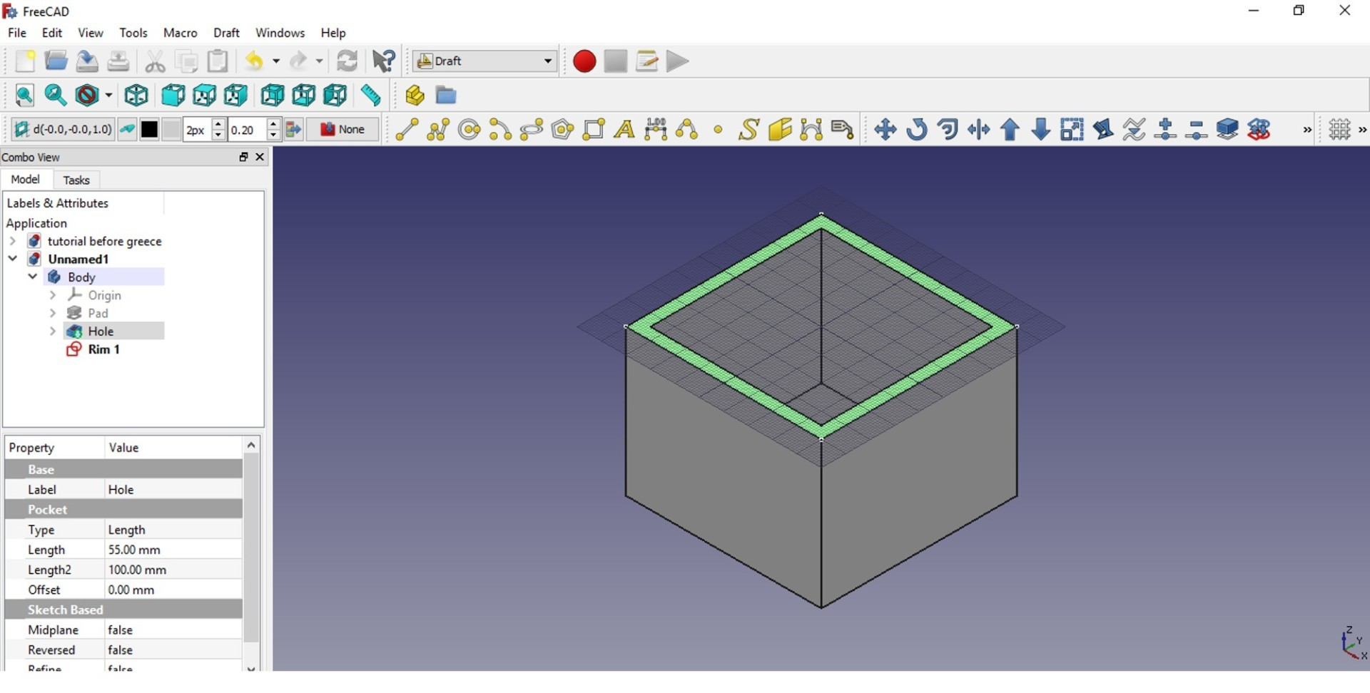 FreeCAD tutorial Toggle grid view