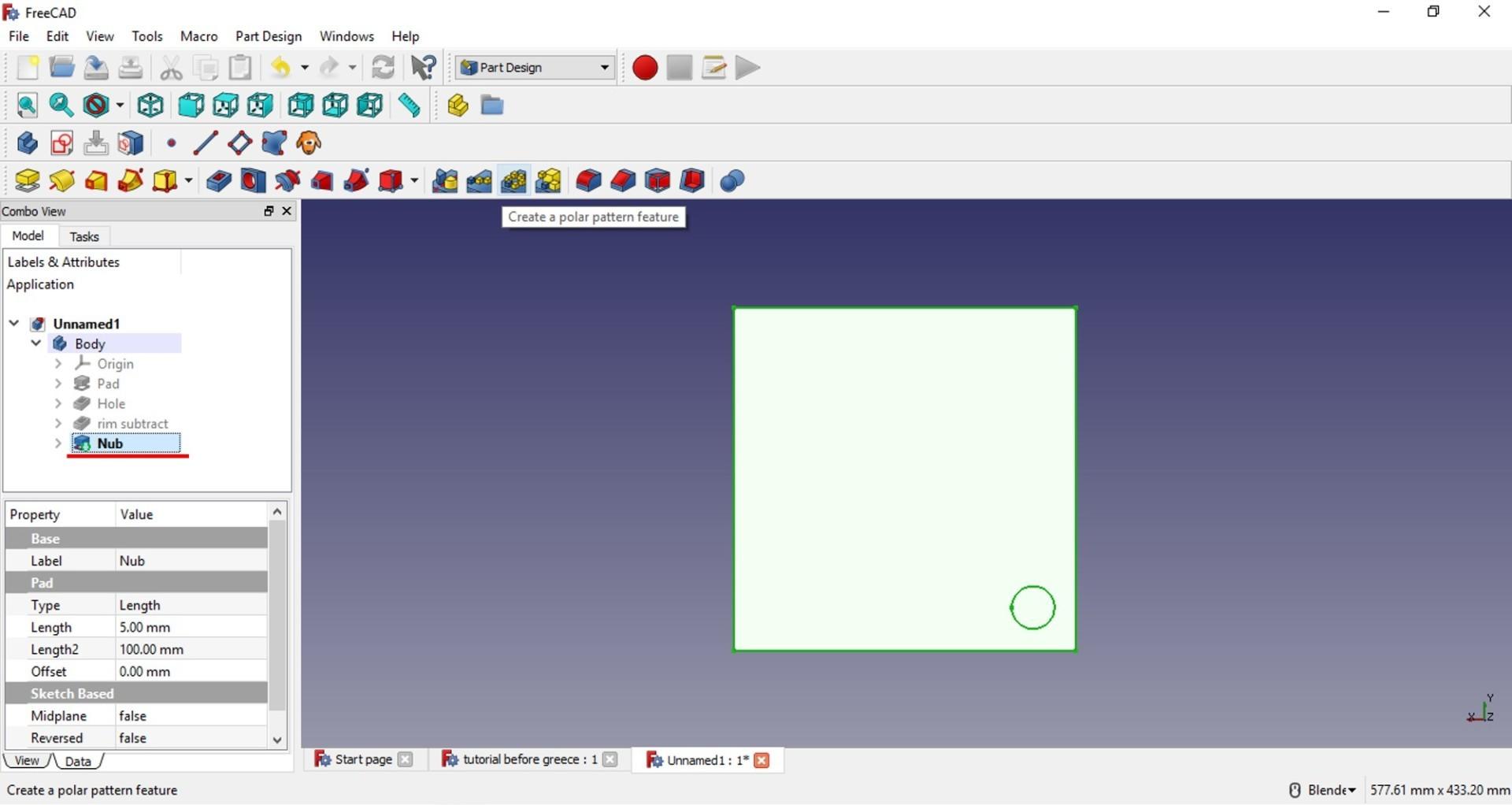 freecad tutorial nub