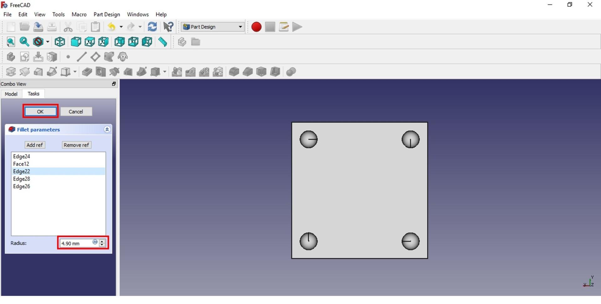 freecad tutorial fillet 4.9