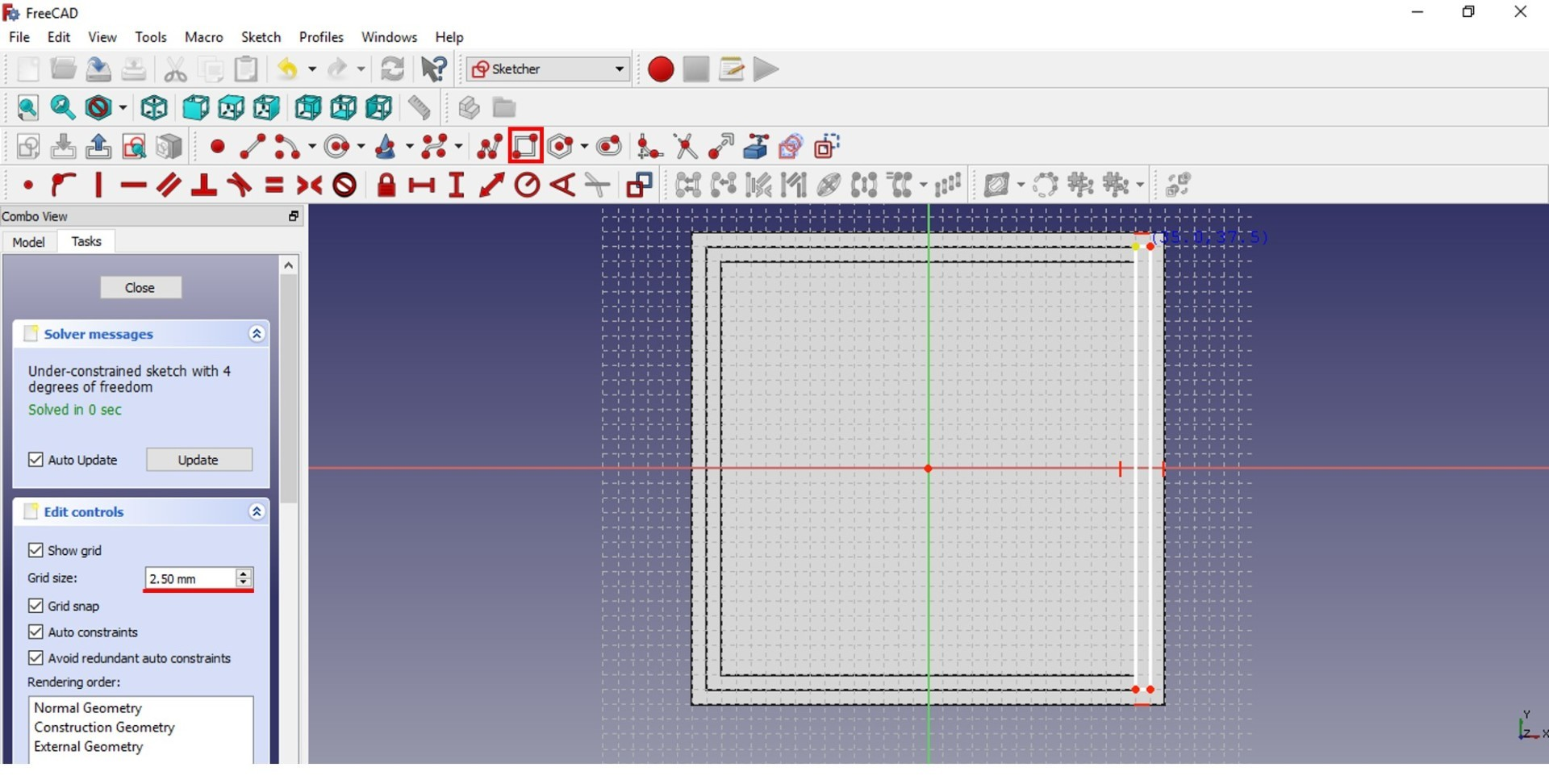 freecad tutorial upper view fillet 2.5