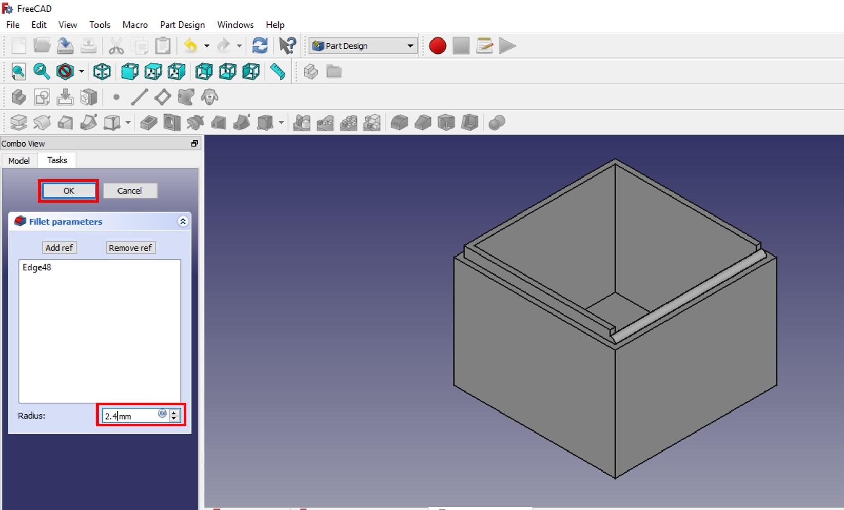 freecad tutorial small rim applied