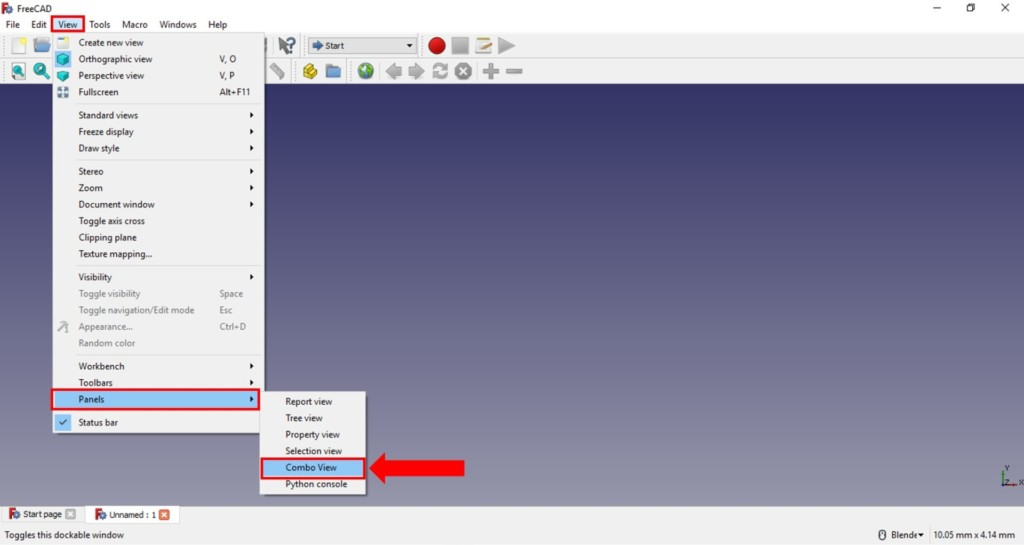 freecad turial set combo view