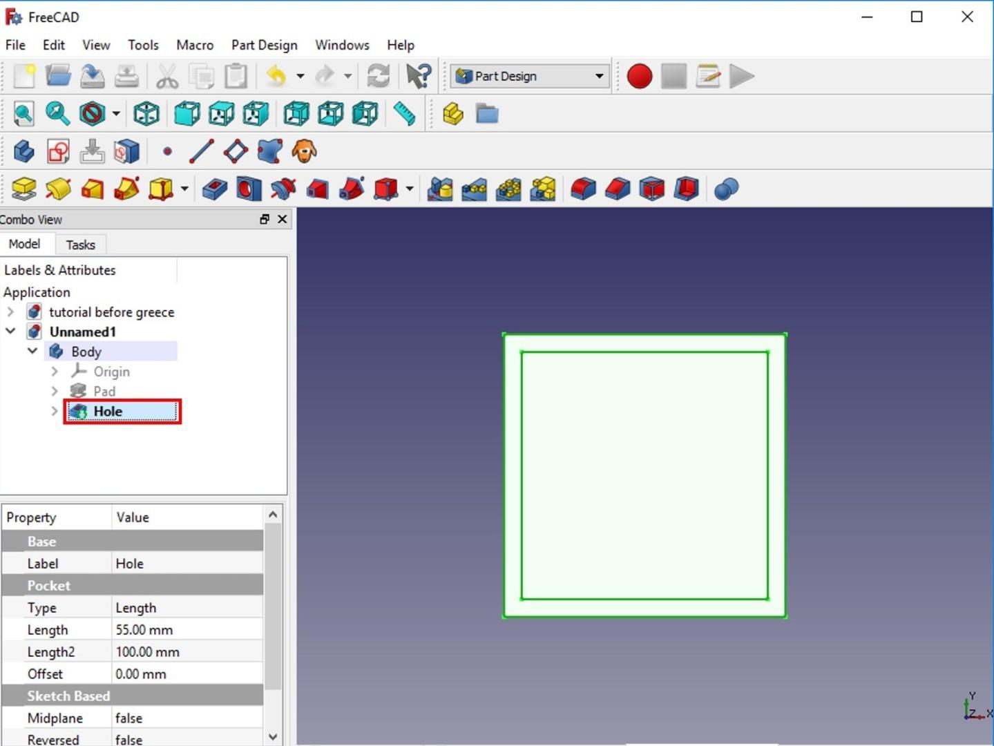 freecad tutorial hole