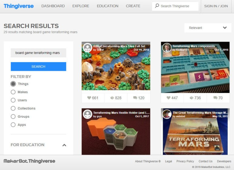 A typical Thingiverse search result.