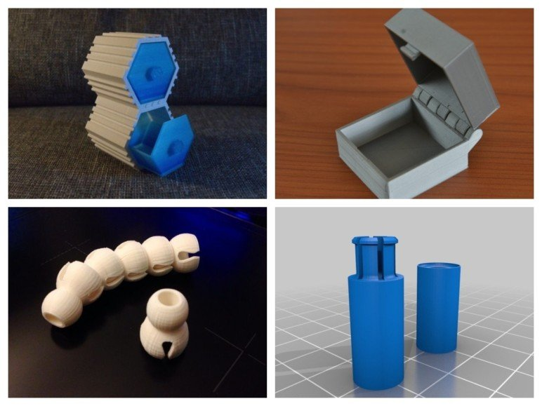 Clockwise: Examples of interlocking, cantilever, annular, and ball-and-socket joints.