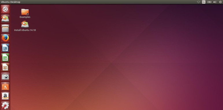 Linux Ubuntu home screen.