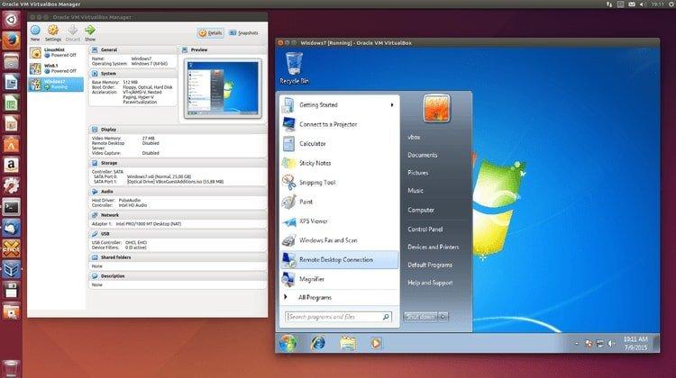 Windows 7 running in Ubuntu using VirtualBox.
