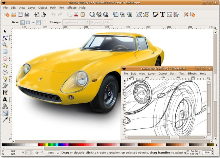 You can design gorgeous images in Inkscape, like this classic old car.