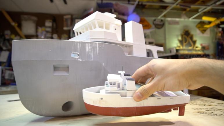 Giant 3D printed utility tugboat.