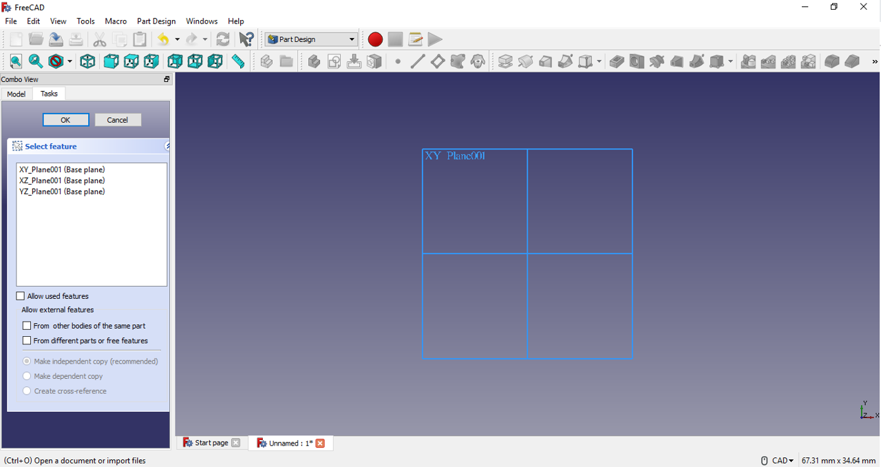 FreeCAD tutorial create sketch