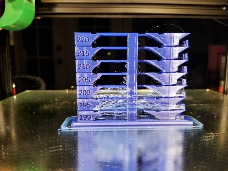 Temperature tower. Each repeat is printed 5 °C hotter than the last.