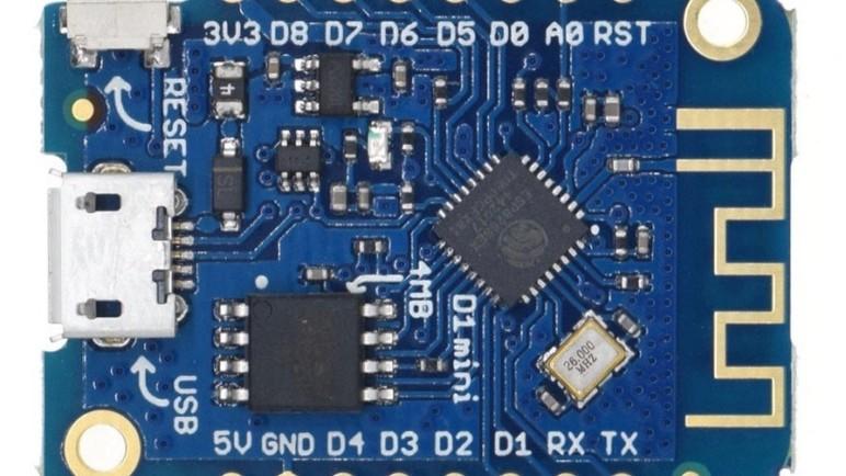 The Wemos D1 mini.