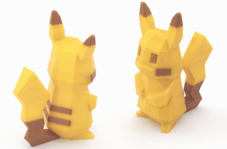 3D printed low-poly Pikachu model.