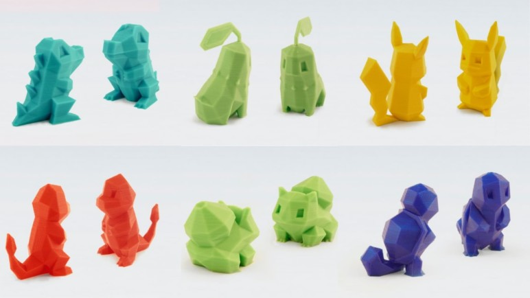 Low-poly 3D printed Pokémon models.