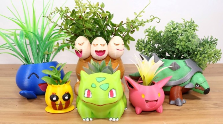 A collection of 3D printed Pokémon planters.