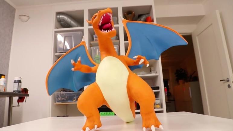 Enlarged 3D printed Charizard Pokémon.