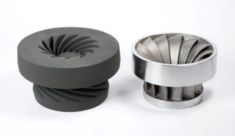 Impeller sand casting mold and completed metal part.