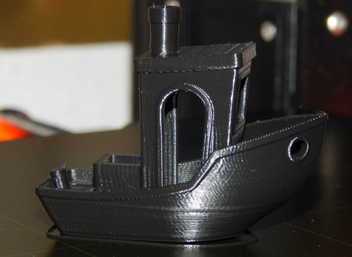 Our 3DBenchy, just finished printing.