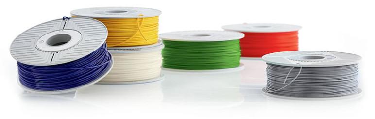 Spools of colorful Verbatim PLA.