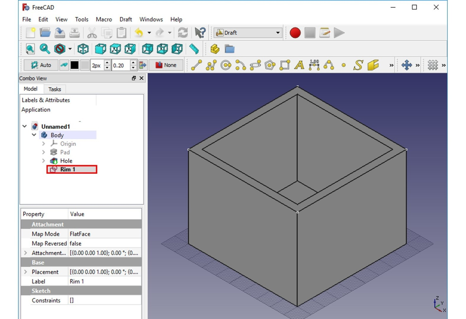 freecad tutorial rim ax view
