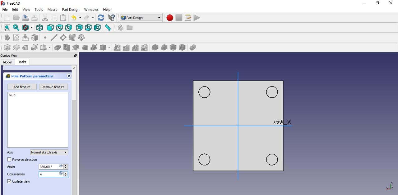freecad tutorial nub polar patterns