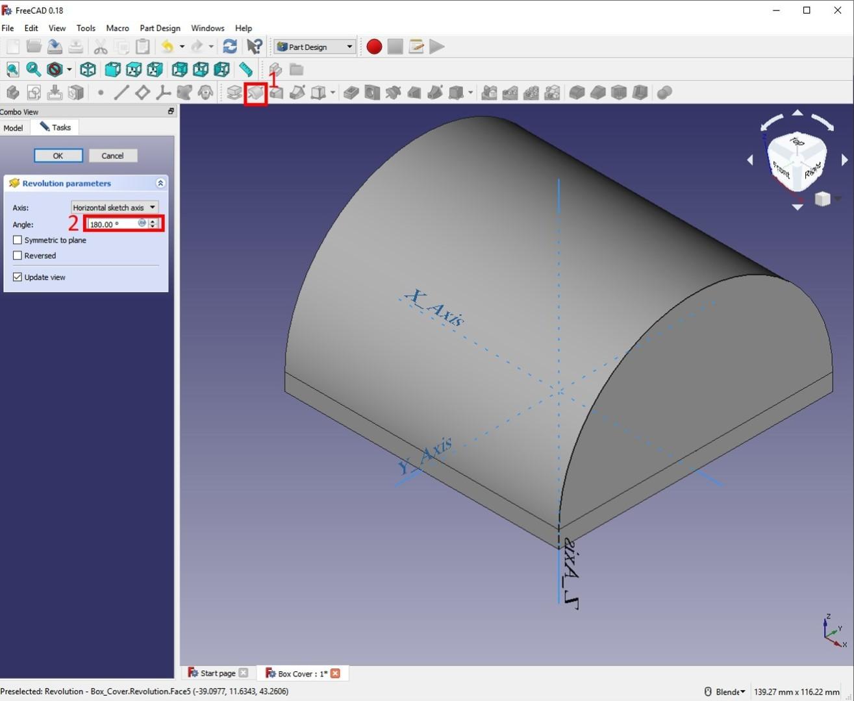 freecad tutorial lid revolution