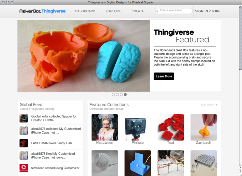 Thingiverse is a great place for students to find premade models to 3D print.