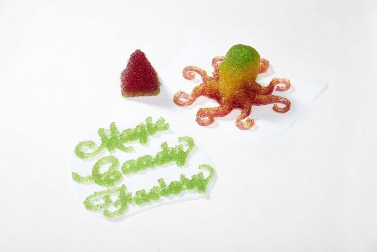 The company logo printed into gummy candy.