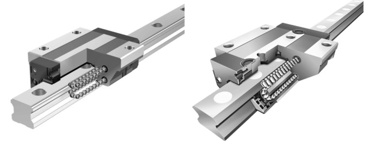 A cut-away depiction of a linear rail and it's recirculating ball bearings.