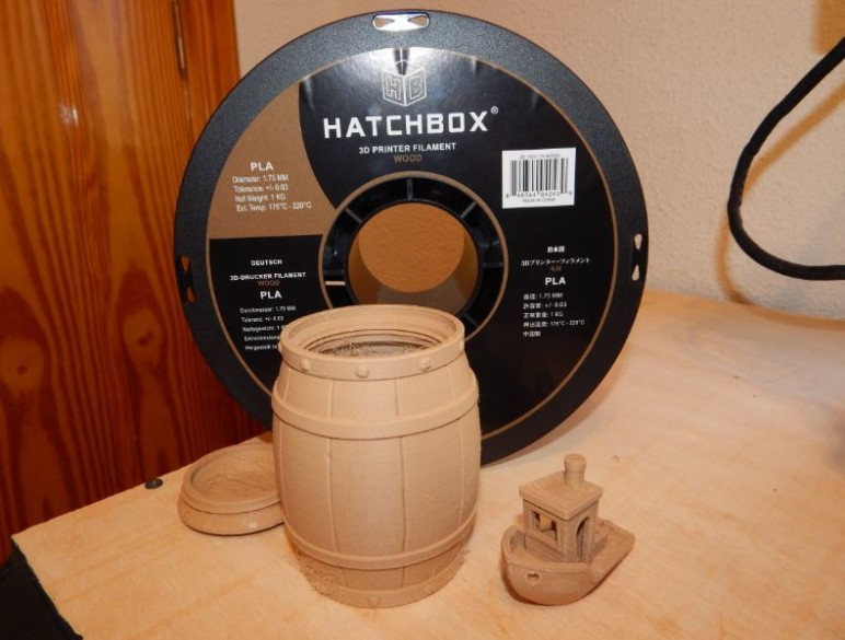 Some of our test prints in Wood PLA.