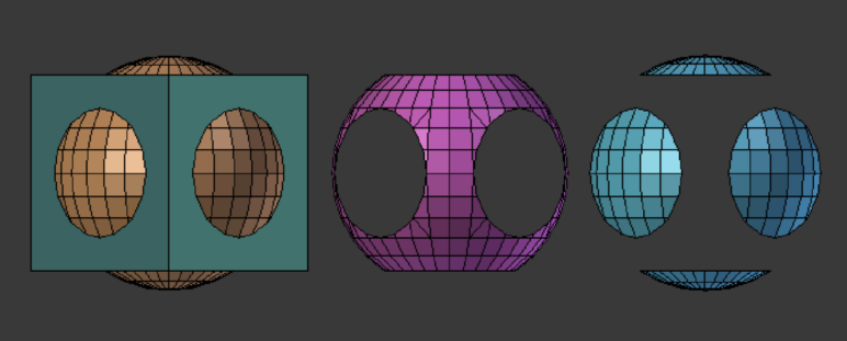 Boolean operations in Blender.