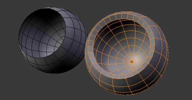 Applying the solidify modifier to a surface.