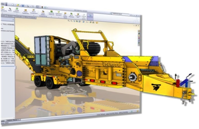 A 3D model coming to life in SolidWorks.