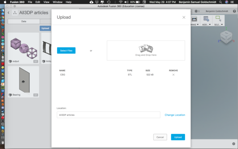Uploading files in Fusion 360.