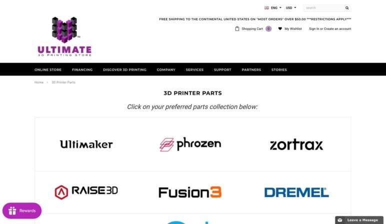 Ultimate 3D Printing Store's selection of spare part brands.