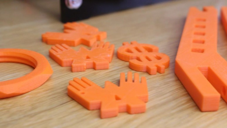Assorted 3D printed parts.