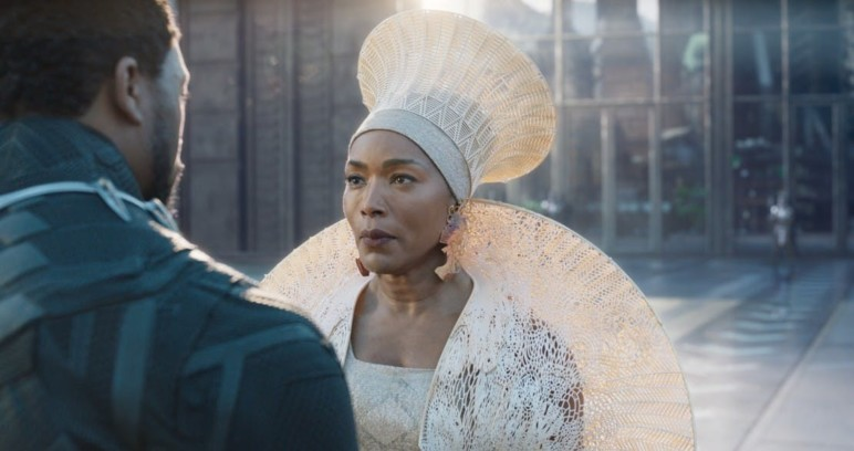 Queen Ramonda's costume in the Black Panther movie.