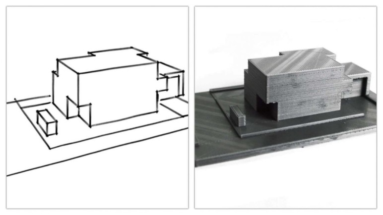 A sketch (left) and a 3D printed model of it (right).