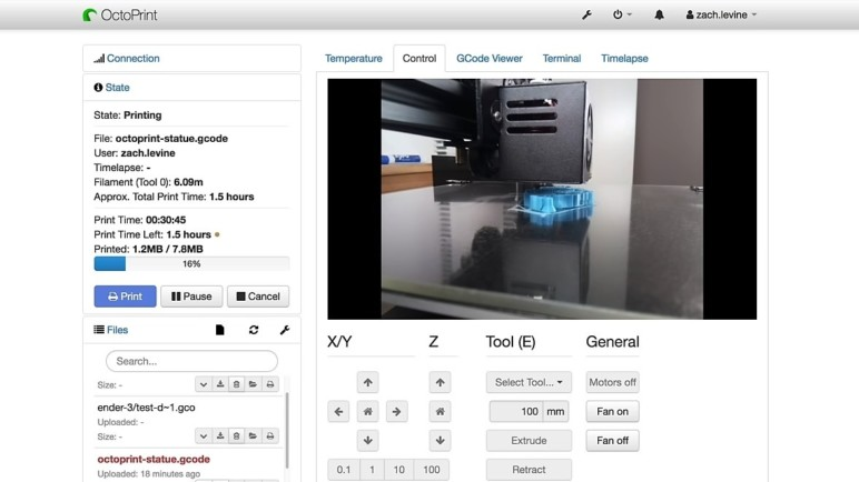 The OctoPrint interface.