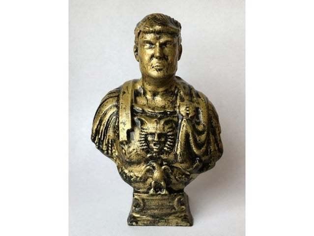 Emperor Trump is a remix of a bust of Julius Caesar.
