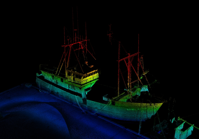 Lidar image of a vessel in the South Pacific.