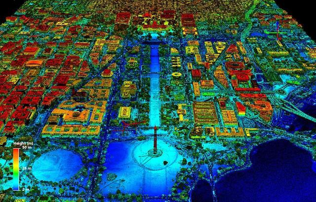 A lidar image of Washington, DC.