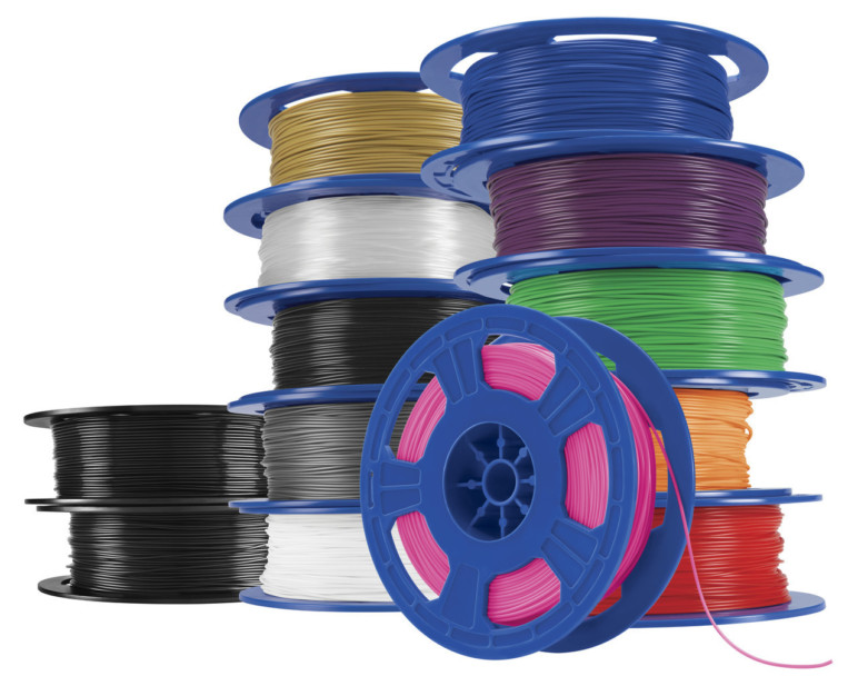 3D printing requires materials called filaments that are rolled onto spools.