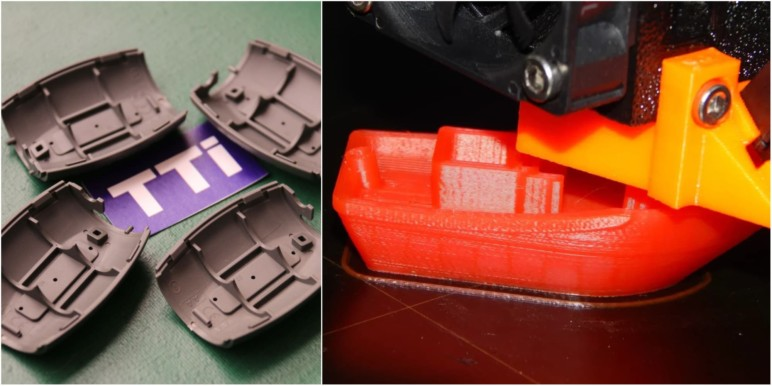 An injection-molded part alongside a 3D Benchy, mid-print