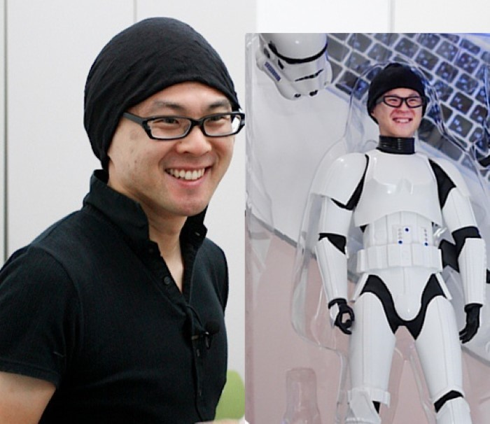 A likeness of a man in clone trooper armor.