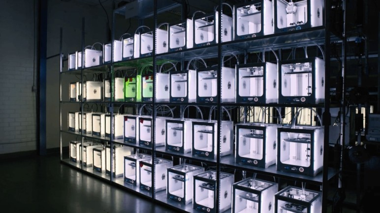 A 3D printing farm consisting of multiple Ultimaker 3s.